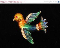ON SALE Vintage Enamel & Rhinestone Bird Brooch Pin 1970s. $16.00, via Etsy.