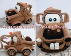 Tow Mater-AmigurumiTRDesignTeam sorry not available on Etsy anymore. Crochet Car, Crochet Disney, Crochet For Boys, Filet Crochet, Cute Crochet, Crochet Dolls, Crochet Crafts, Crochet Projects, Crochet Stitches Patterns