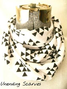 geometric jersey knit infinity scarf- black triangles, white, cotton jersey knit, circle scarf, free shipping, summer #bestofEtsy #design