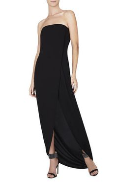 BLACK Black Gowns - Jesse Draped Strapless Gown