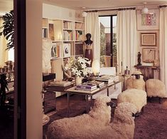 Whimsical sheep chairs by Claude and François-Xavier Lalanne in Yves Saint Laurent's left bank apartment