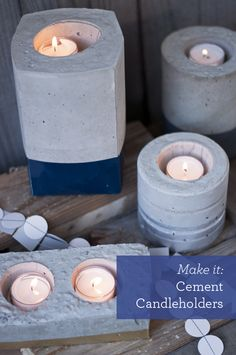 Make your own color-blocked industrial chic candleholders with spray paint and cement!