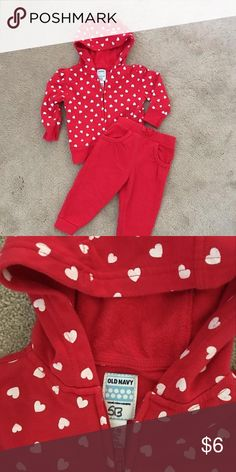 Old Navy Sweat Suit Adorable Red Sweat suit. Red hooded full zipper top with white heart print. Pants solid red Does have initials SN on inside tag as shown in picture Old Navy Dresses