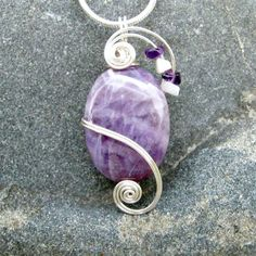 Amethyst Wire Wrapped Pendant Necklace in Silver by CareMoreCreations.com, $29.00