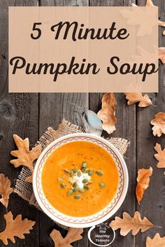 Using canned pumpkin allows this soup to come together in just 5 minutes. Pair it with a light salad for a perfect weeknight fall meal. #fallrecipe #pumpkinsoup