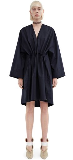 Acne Studios Calida tech p navy Loose poplin dress