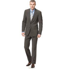 Kenneth Cole Reaction Brown Stripe Slim-Fit Suit - Suits & Suit Separates - Men - Macy's