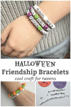 Make and share the Halloween spirit with these super fun halloween friendship bracelets. A cool Halloween craft for tweens and teens to make. Thanksgiving Activities For Kids, Halloween Activities For Kids, Art Activities For Kids, Halloween Crafts For Kids, Homemade Halloween, Crafts For Kids To Make, What Is Halloween, Spirit Halloween, Happy Mom