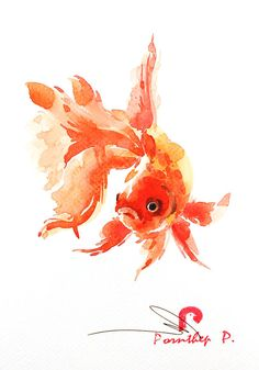 Painting - Golden Fish by Pornthep Piriyasoranant , Watercolor Fish, Butterfly Watercolor, Watercolour Painting, Fish Paintings, Animal Paintings, Fish Drawings, Art Drawings, Golden Fish, Fish Illustration