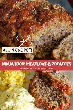 Make this all in one Ninja Foodi Recipe with Ninja Foodi Meatloaf, Potatoes, and Corn!  This is an easy meal to make in under an hour and all in one pot. The tangy sauce on the meatloaf makes the meatloaf, so be sure not to skip it! Amish Meatloaf Recipe, Meatloaf Recipes, Beef Recipes, Easy Food To Make, Quick Easy Meals, Easy Dinner Recipes, Easy Dinners, Easy Marinara Sauce, Slow Cooker Meatloaf