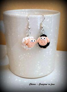 #Orecchini in #fimo handmade pecore kawaii miniature idee regalo amica , by Chiara - Creazioni in fimo, 7,00 € su misshobby.com