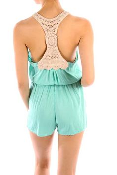 Casual Solid Round Neck Crochet Racer Back Sleeveless Tank Top Mini Short Romper