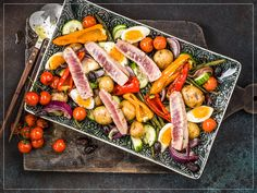 Salat Nicoise, Bbq, Vegetable Salad, Carrots, Sausage, Cheese, Meat, Vegetables, Grilling
