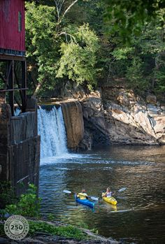 Friends kayaking at the base of Whittle's Mill on the Meherrin River, between South Hill and Chase City, VA. Photo by Robert Harris Photography. #moremeck #visitsova