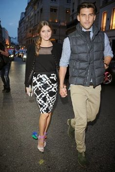Olivia Palermo with Johannes Huebl at the cocktail for the Moncler New Flagship Opening