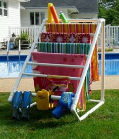 Outdoor towel rack made from PVC pipe. Very light weight and easy to take on a trip. beaches, idea, friends, towel racks, toy, pvc pipes, towels, pools, lake hous