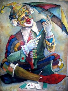 "Бурдин Тимур    ""Клоун с зонтиком"" Joker Clown, Le Clown, Creepy Clown, Illustrations, Illustration Art, Elly Smallwood, Steampunk Circus, Mime, Clown Paintings"