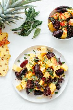 Beetroot Pineapple Salad with Mint is a delicious spin on your typical salad - hearty roasted beets, tangy pineapple & mint make for one refreshing dish! Beet Recipes, Clean Recipes, Whole Food Recipes, Salad Recipes, Cooking Recipes, Healthy Recipes, Recipes Dinner, Delicious Recipes, Tasty