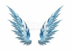 'Blue angel wings made with fractal design, white background'