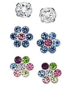Unwritten Sterling Silver Earrings Set, Cubic Zirconia (1/5 ct. t.w.) and Flower Studs