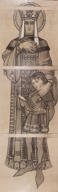 Karel Vítězslav Mašek - Study st-ludmila with st-vaclav Ink Wash, Art Nouveau, Pointillism, Gustav Klimt, Stained Glass Windows, Belle Epoque, Close Image, Saints, Fine Art