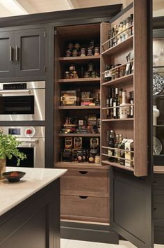 Exposed Brick Kitchen Fluid bevelled doors bring a touch of understated elegance whilst the dusted oak internal finishes create interest and warmth. The cleverly concealed pantry creates much-needed storage for essential food items and kitchen utensils. Kitchen Pantry Design, Rustic Kitchen Design, Home Decor Kitchen, Interior Design Kitchen, New Kitchen, Home Kitchens, Kitchen Ideas, Miele Kitchen, Updated Kitchen
