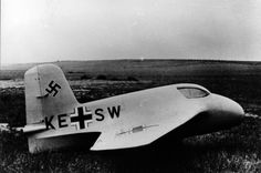 Me-163 A-V4 - Prototype Komet interceptor aircraft in a field
