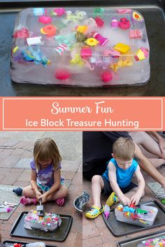 Summer Fun: Ice Block Treasure HuntingThere is no better way to beat the summer heat than by playing with ice. And when it incorporates your kids' favourite little toys, it's even more fun. Summer Preschool Activities, Craft Activities, Outdoor Activities For Preschoolers, Outdoor Toddler Activities, Outdoor Preschool Activities, Toddler Sensory Bins, Outdoor Activities For Toddlers, Outdoor Fun For Kids, Toddler Learning Activities