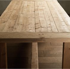 RH's Salvaged Wood Farmhouse Rectangular Extension Dining Table:A perennial classic, our Farmhouse Table evokes the clean-lined Parsons style.