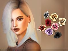 The Sims Resource: Rose Earrings by toksik • Sims 4 Downloads