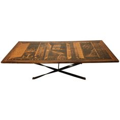 Mid-Century Modern Coffee Table With Beautiful Laminate Drawing | From a unique collection of antique and modern coffee and cocktail tables at https://www.1stdibs.com/furniture/tables/coffee-tables-cocktail-tables/