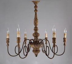 French Baroque Vintage Rural Wrought Iron Pendant Light