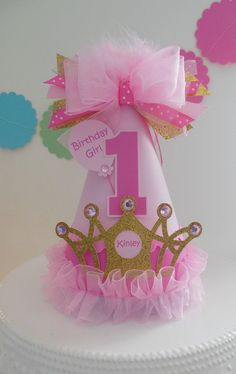 Ombre Pink and Glitter Gold Crown - Princess Birthday Party Hat - Personalized