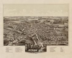 Map of Perry, Wyoming County, New York, N.Y. 1892.  Vintage restoration hardware home Deco Style old wall reproduction map print.