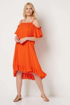 Rochie vaporoasa de vara, de culoare portocalie - Rochii - Rochii de primavara-vara Crochet Summer Dresses, Roman Originals, Crepe Dress, Crochet Lace, Cold Shoulder Dress, Orange, Casual, Fit, Women