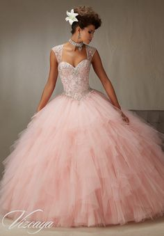 Quinceanera Mall - Quinceanera Dress Pink Embroidery And Beading On A Ruffled Tulle Skirt , $780.00 (http://www.quinceaneramall.com/products/quinceanera-dress-pink-embroidery-and-beading-on-a-ruffled-tulle-skirt.html/)