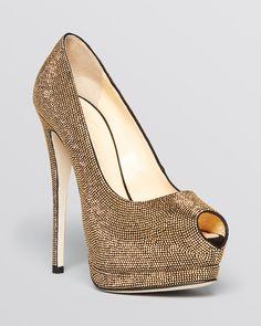Giuseppe Zanotti Peep Toe Platform Pumps - Sharon Studded High Heel | Bloomingdale's