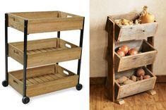 Reciclaje de cajones para organizar las verduras Kitchen Cart, Wooden Boxes, Home Organization, Wood Crafts, New Homes, Diy Projects, House Design, Interior Design, Fruit