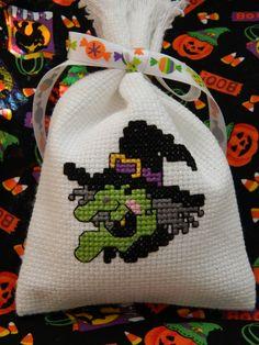 Cross stitch Halloween witch