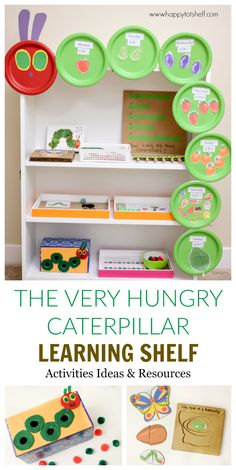 Very Hungry Caterpillar Activities for Toddlers and Preschoolers The Very Hungry Caterpillar Learning Activities & Shelf - Happy Tot ShelfThe Very Hungry Caterpillar Learning Activities & Shelf - Happy Tot Shelf Preschool Classroom, Preschool Learning, Learning Activities, Preschool Activities, Kids Learning, Teaching, Days Of The Week Activities, Toddler Classroom, Hungry Caterpillar Classroom