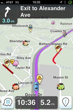 Ever wish that the hundreds of people driving the roads the same time as you could warn you in advance of traffic you might hit? Even better that a computer might process it al and re-route you perfectly around the reported traffic?  Than you need to check out WAZE.  Its free on iphone and Android..and amazing and I'm addicted.