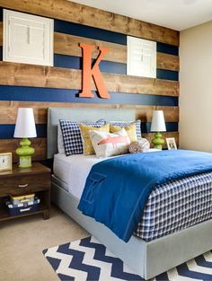 This is a pretty interesting #bedroom! The #wooden beams on the wall add a nice touch. Adding #wood to bedrooms has been trending lately and it's interesting to see the variety of ideas homeowners come up with. #homeimprovement #bedroomdesign