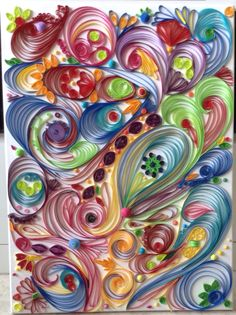 Abstract quilling on canvas