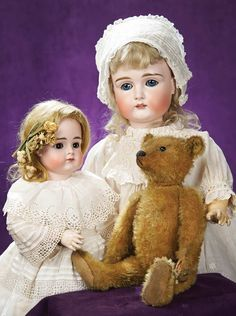 View Catalog Item - Theriault's Antique Doll Auctions Old Teddy Bears, Steiff Teddy Bear, Teddy Bear Toys, Vintage Teddy Bears, China Dolls, Old Dolls, Bisque Doll, Heart For Kids, Antique Toys