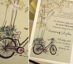 Bicycle Paper Designs Bicycle Wedding Invitations Bicycle