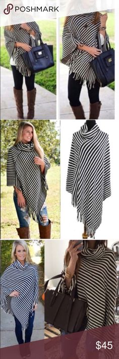 EMMALEE cowl neck poncho - BLACK Striped asym hem poncho with fringe detail and cowl neck. Super fun and stylish!   100% soft Acrylic   NO TRADE, PRICE FIRM Sweaters Shrugs & Ponchos