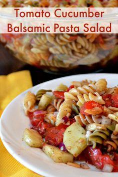 #Tomato Cucumber Balsamic Pasta Salad  super simple and scrumptious. #salads #tomato
