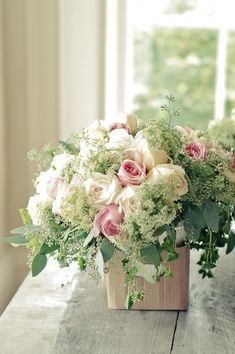 Rose arrangement ~~ pink, white, lots of greenery - Source: loveliegreenie