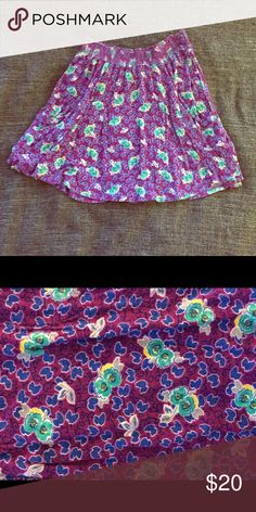 Lush purple high waisted skirt Purple flowered skirt with pockets! Super comfortable. Size medium. Worn but in great condition🌺 Lush Skirts Mini