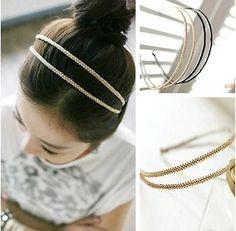 TIAU New Metal Crystal Headband Head Piece Hair Band Jewelry for Women Girl Lady